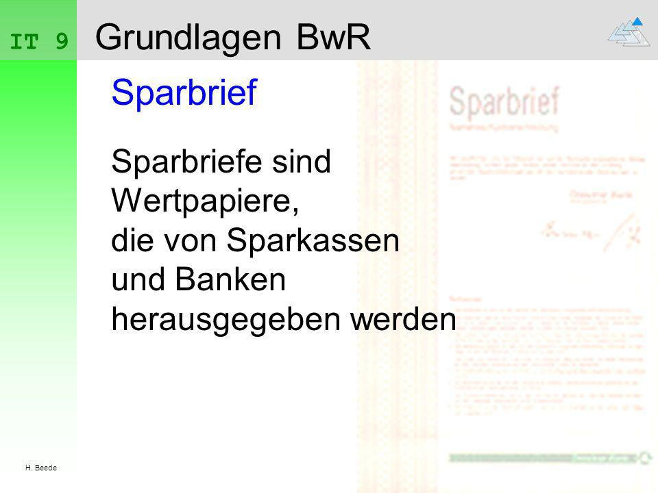 Grundlagen BwR Sparbrief