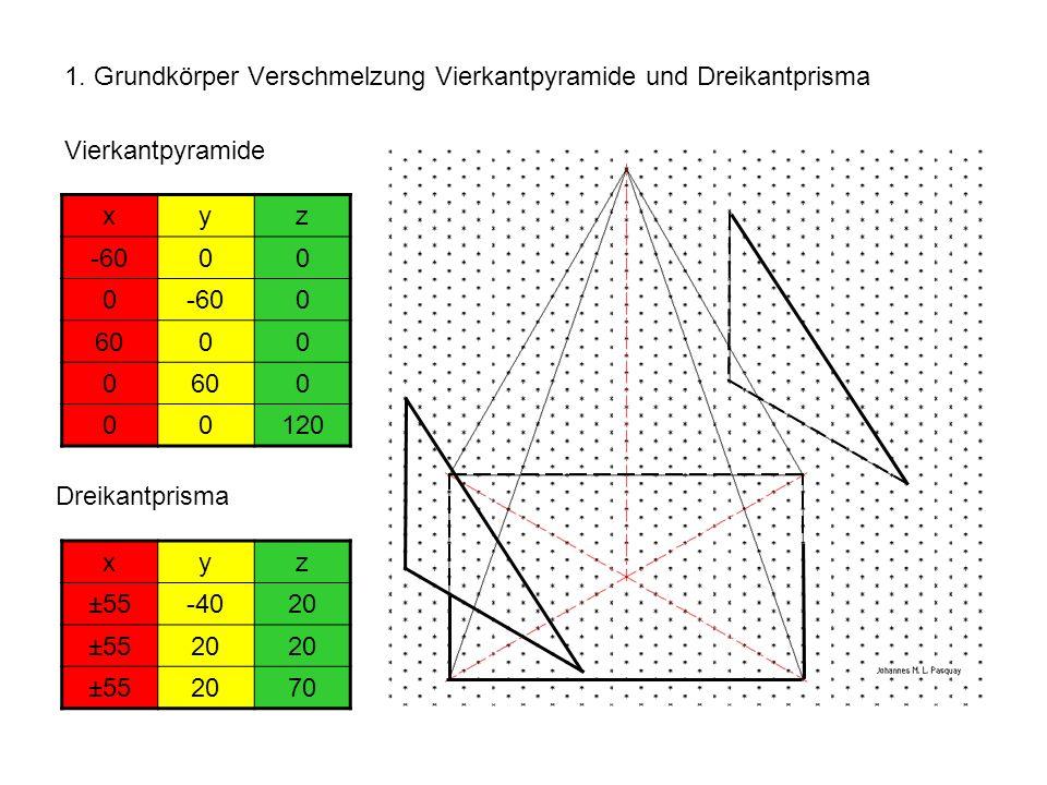 1. Grundkörper Verschmelzung Vierkantpyramide und Dreikantprisma