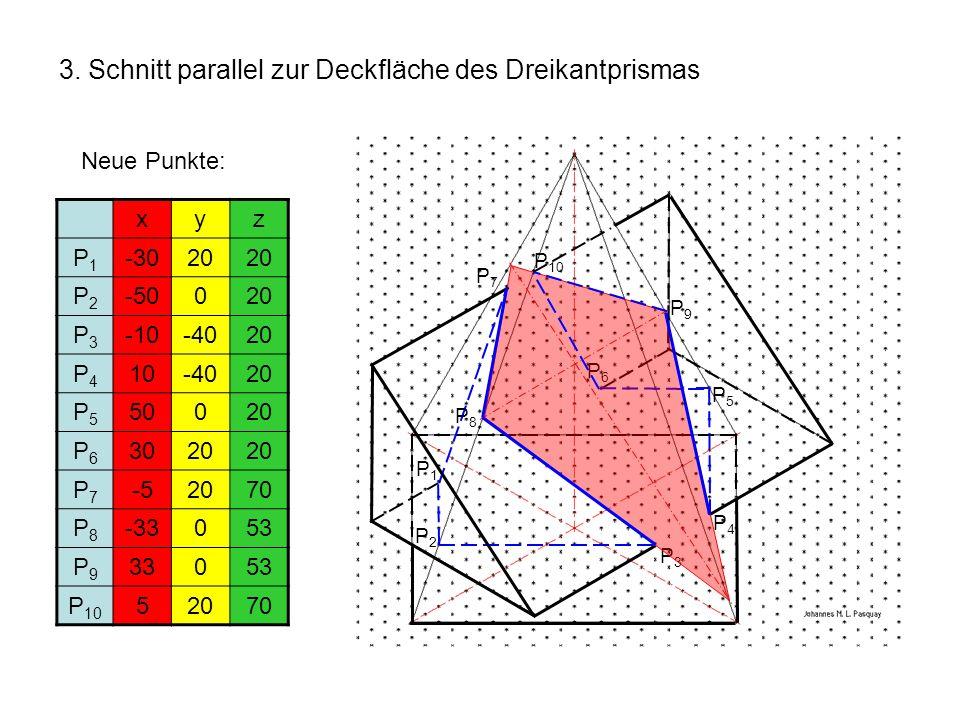 3. Schnitt parallel zur Deckfläche des Dreikantprismas