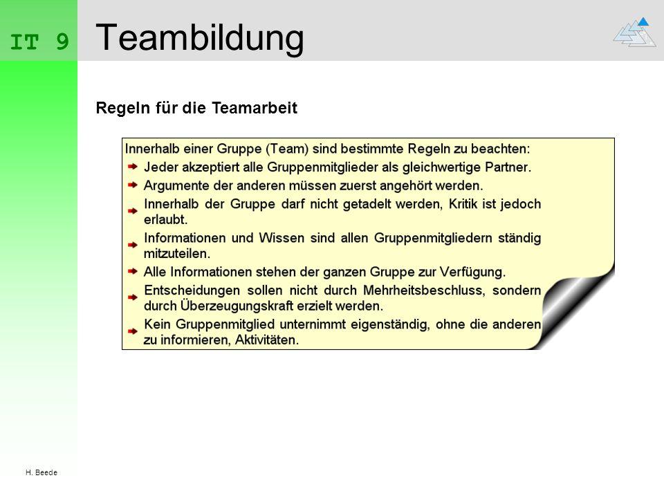 IT 9 H. Beede Teambildung Regeln für die Teamarbeit