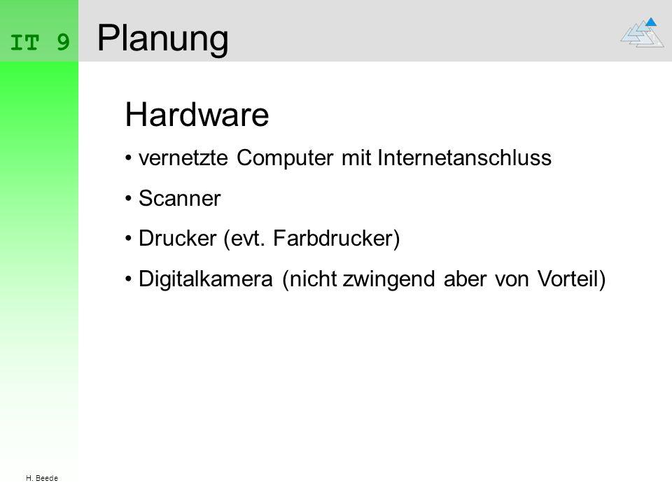 Planung Hardware IT 9 vernetzte Computer mit Internetanschluss Scanner