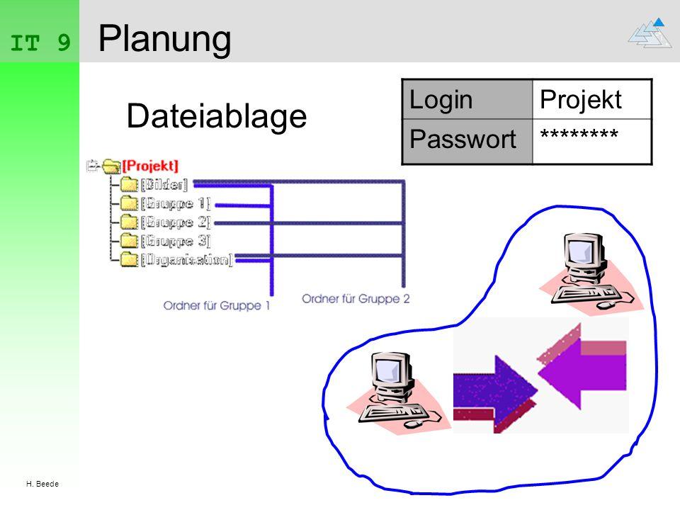 IT 9 H. Beede Planung Login Projekt Passwort ******** Dateiablage