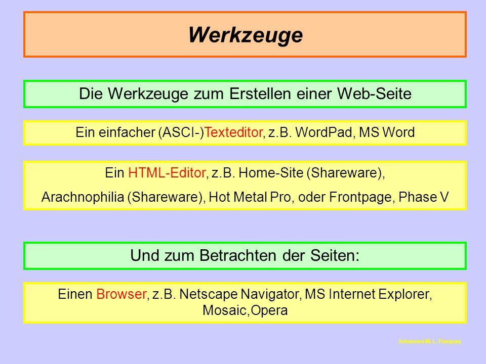 Werkzeuge Die Werkzeuge zum Erstellen einer Web-Seite