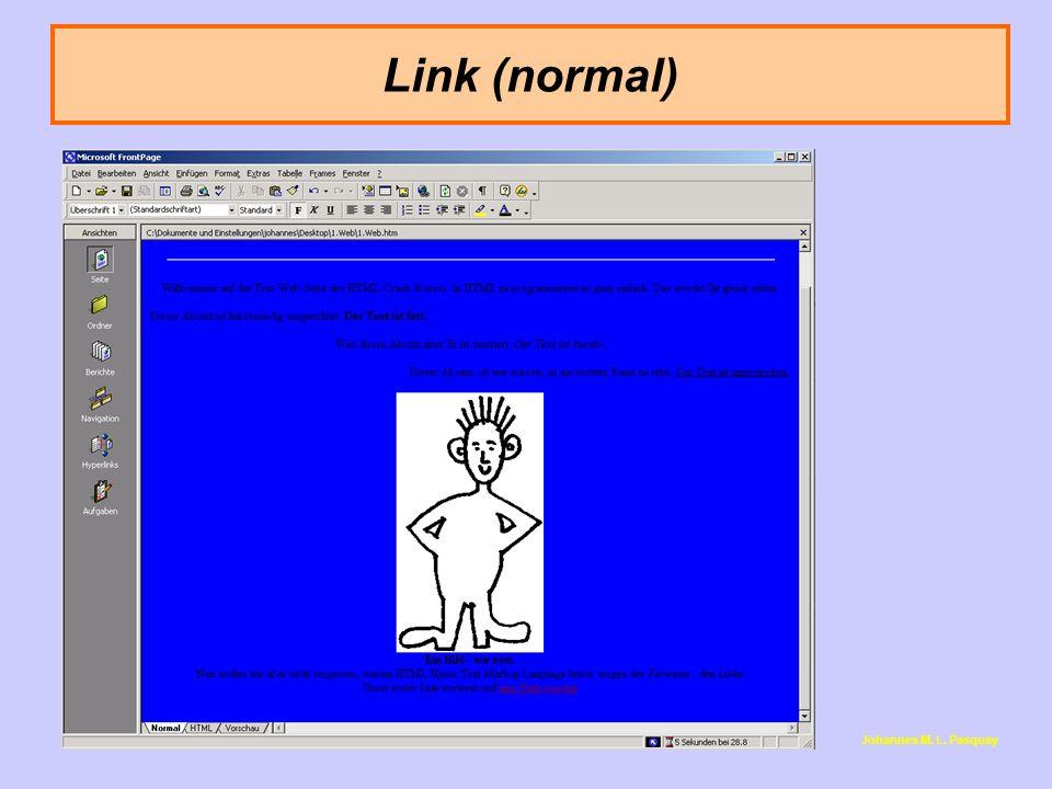 """Link (normal) <i> steht für """"italic , also """"kursiv ."""