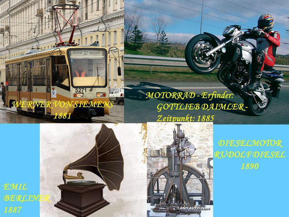 MOTORRAD - Erfinder: GOTTLIEB DAIMLER - Zeitpunkt: 1885