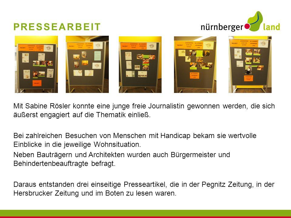 Pressearbeit Mit Sabine Rösler konnte eine junge freie Journalistin gewonnen werden, die sich äußerst engagiert auf die Thematik einließ.