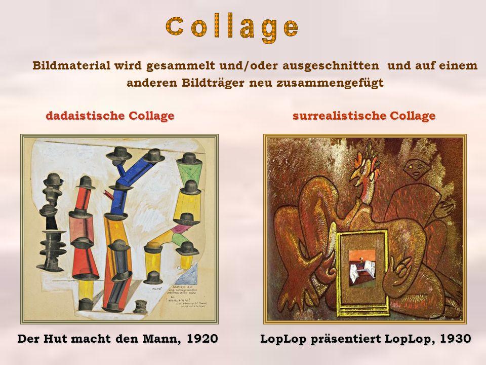 Collage Bildmaterial wird gesammelt und/oder ausgeschnitten und auf einem anderen Bildträger neu zusammengefügt.