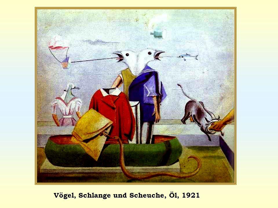 Vögel, Schlange und Scheuche, Öl, 1921