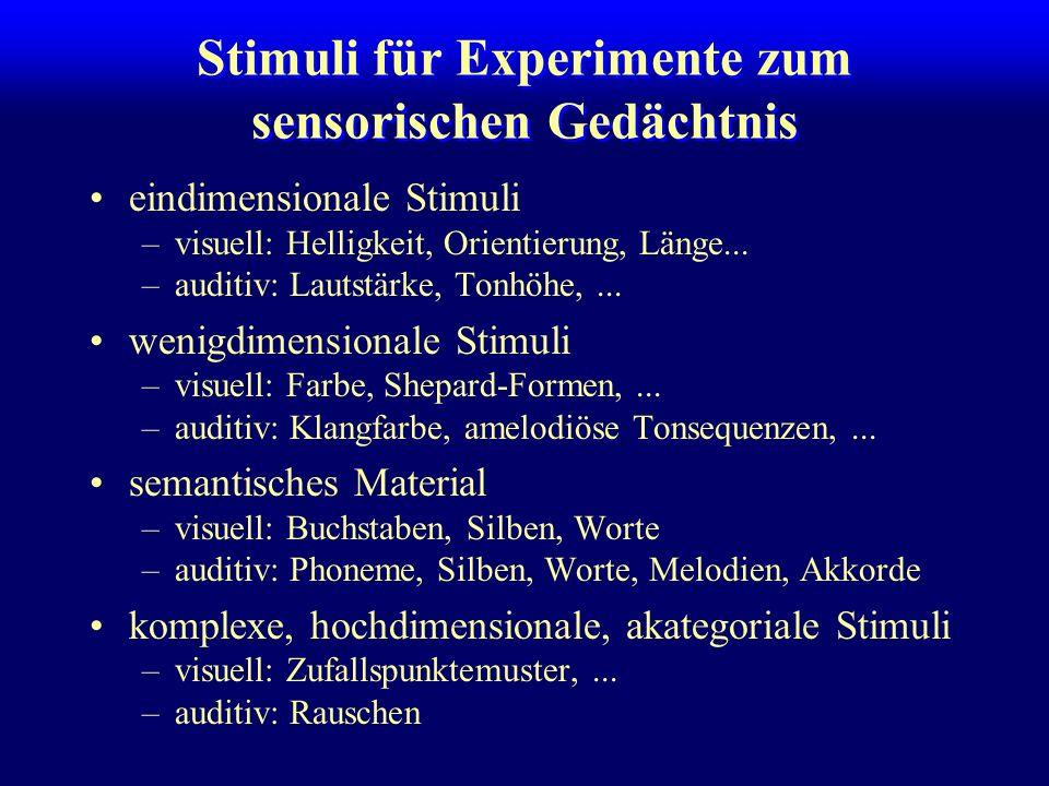 Stimuli für Experimente zum sensorischen Gedächtnis