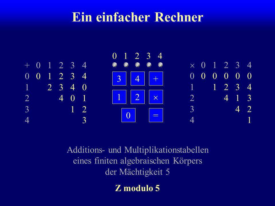 Ein einfacher Rechner 0 1 2 3 4 + 0 1 2 3 4 0 0 1 2 3 4 1 2 3 4 0