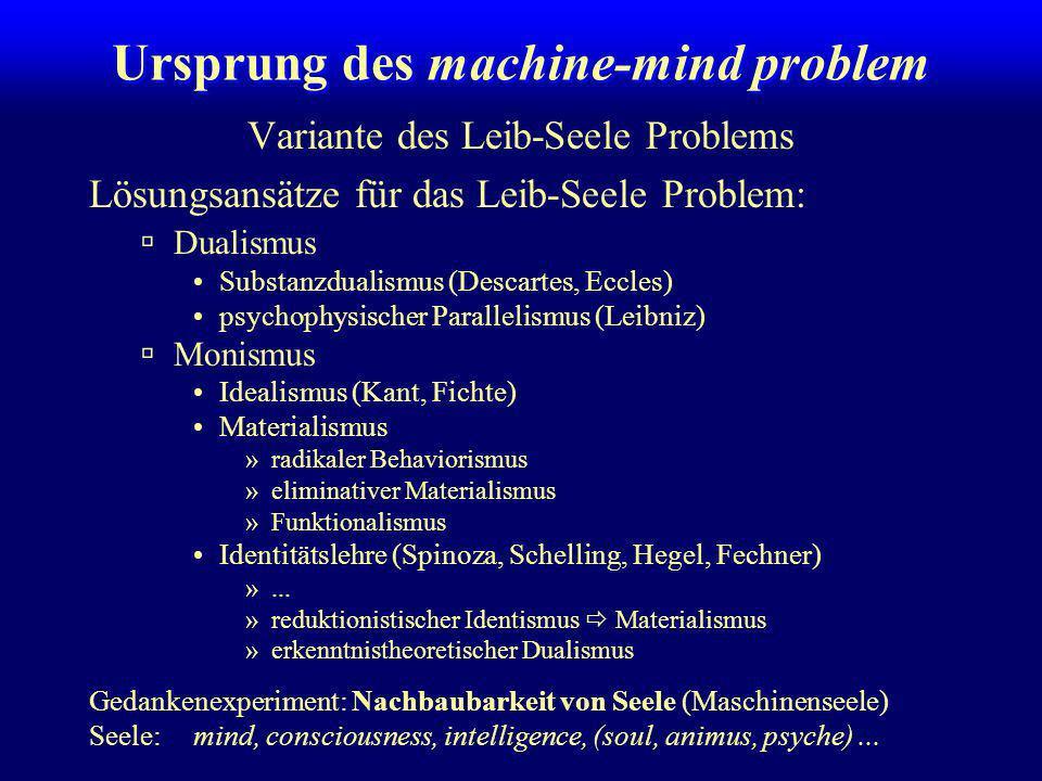 Ursprung des machine-mind problem
