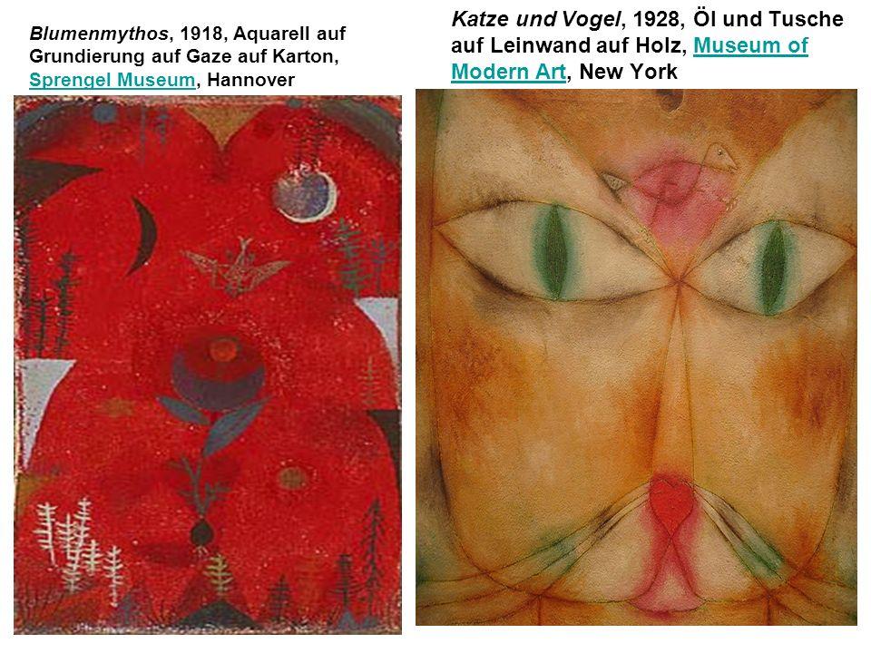 Blumenmythos, 1918, Aquarell auf Grundierung auf Gaze auf Karton, Sprengel Museum, Hannover