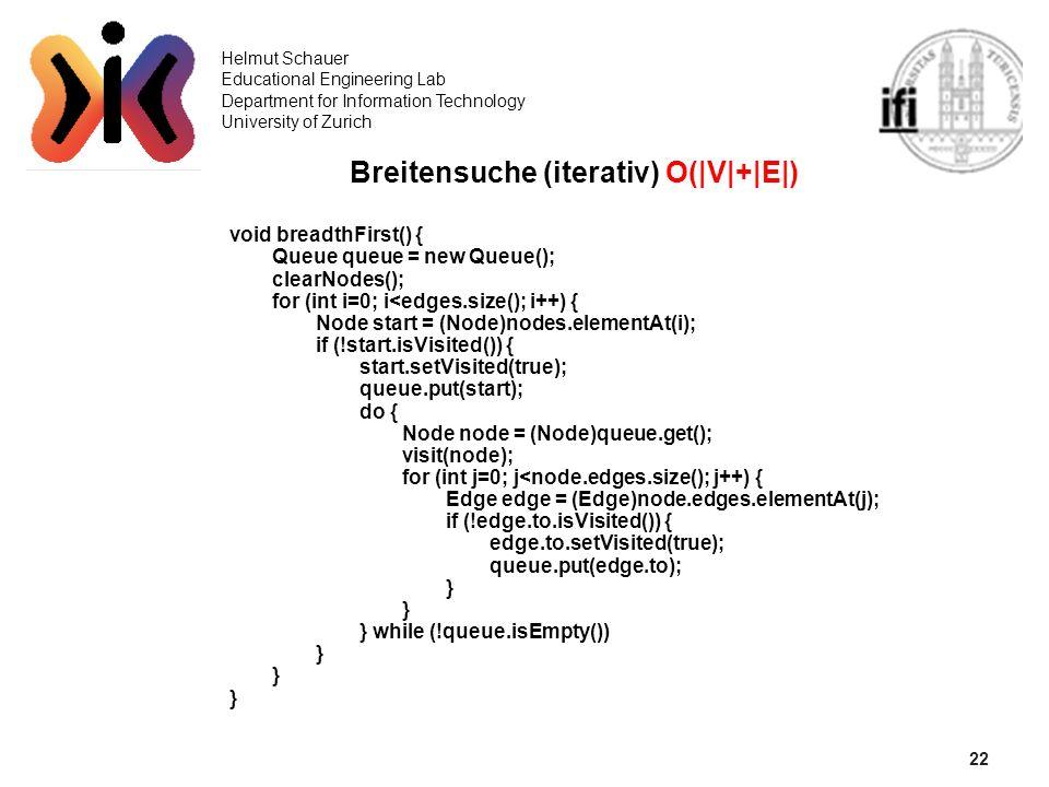 Breitensuche (iterativ) O(|V|+|E|)