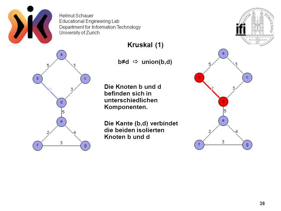 38 Kruskal (1) b≠d  union(b,d)