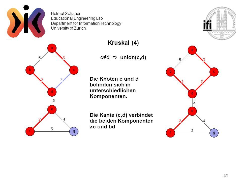41 Kruskal (4) c≠d  union(c,d)