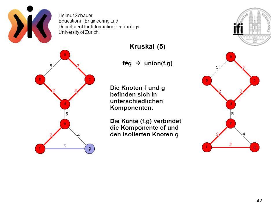 42 Kruskal (5) f≠g  union(f,g)