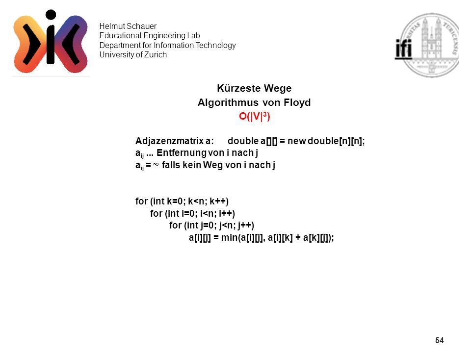 54 Kürzeste Wege Algorithmus von Floyd O(|V|3)