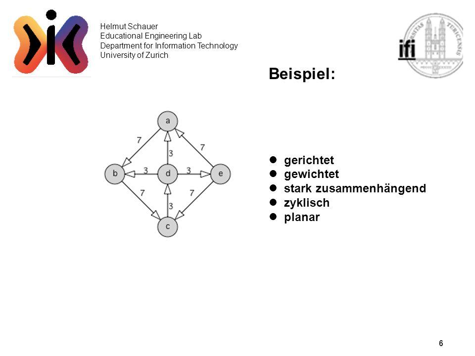 Beispiel: 6 gerichtet gewichtet stark zusammenhängend zyklisch planar