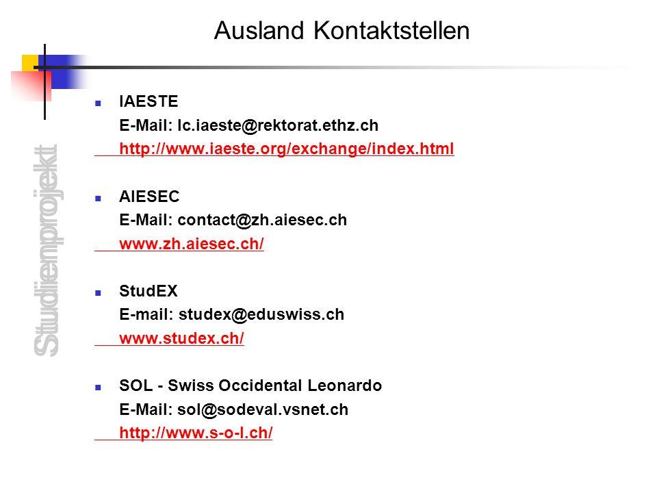 Ausland Kontaktstellen