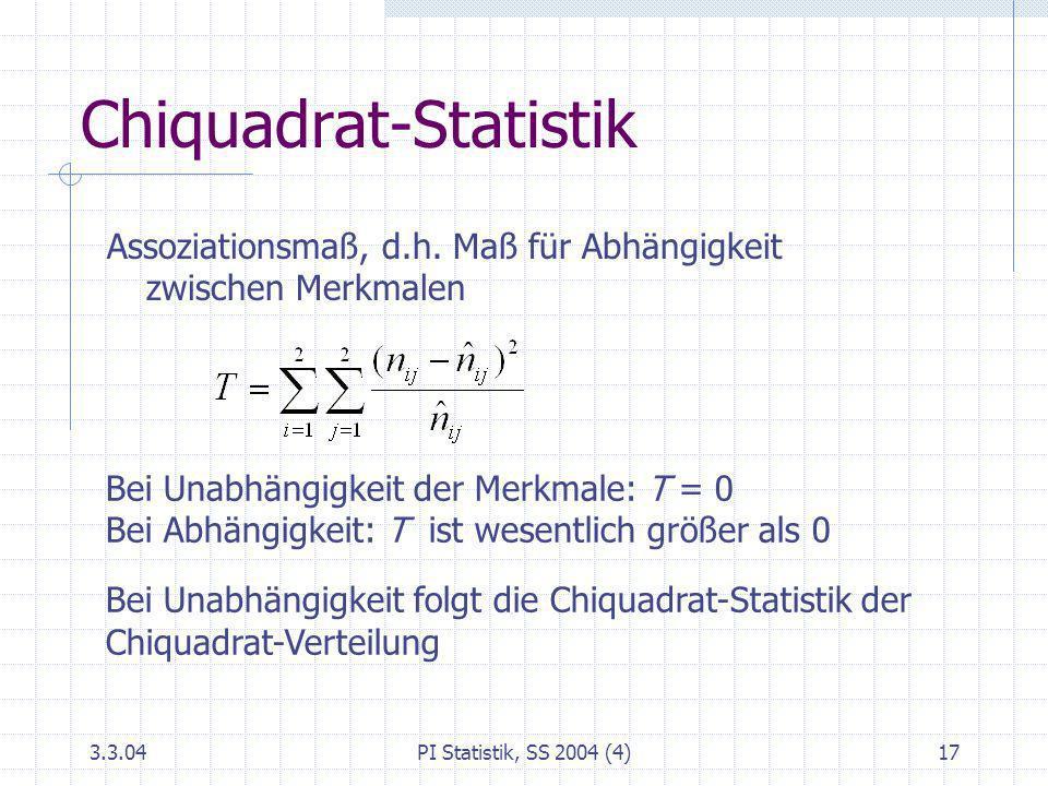 Chiquadrat-Statistik