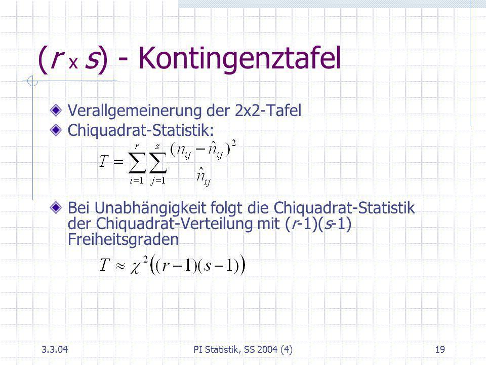 (r x s) - Kontingenztafel