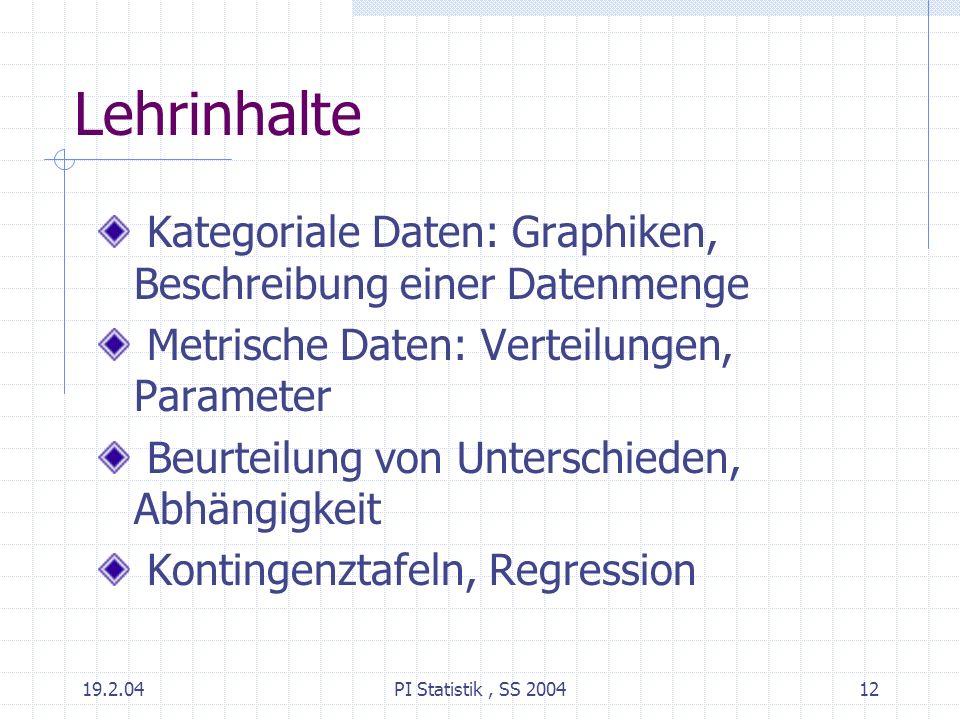 Lehrinhalte Kategoriale Daten: Graphiken, Beschreibung einer Datenmenge. Metrische Daten: Verteilungen, Parameter.