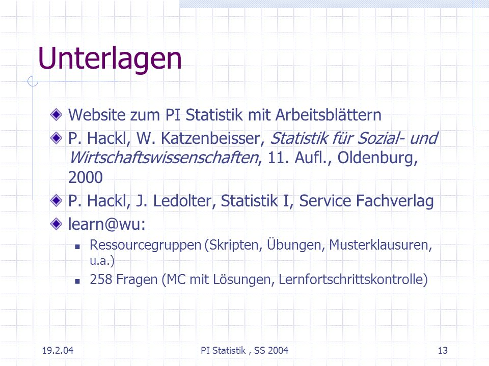 Unterlagen Website zum PI Statistik mit Arbeitsblättern