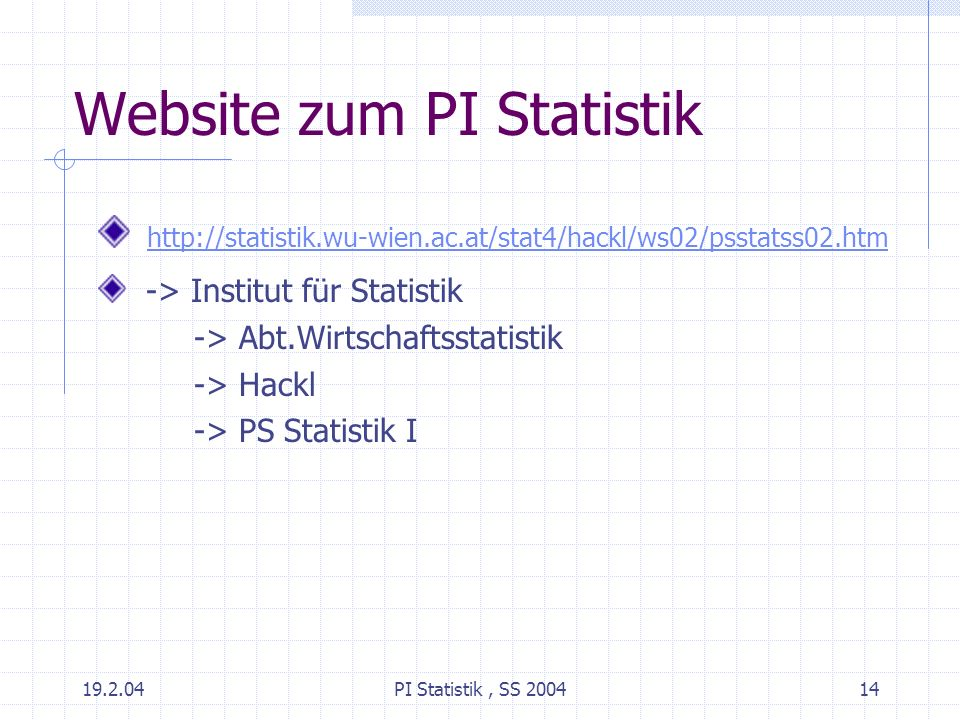 Website zum PI Statistik