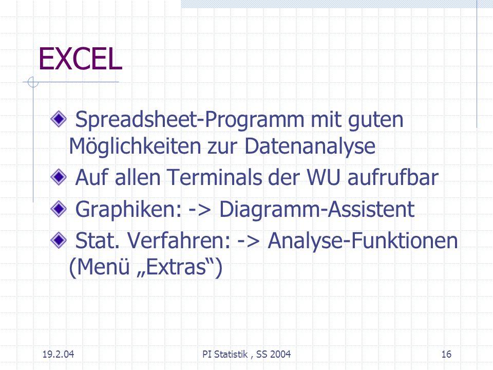 EXCEL Spreadsheet-Programm mit guten Möglichkeiten zur Datenanalyse