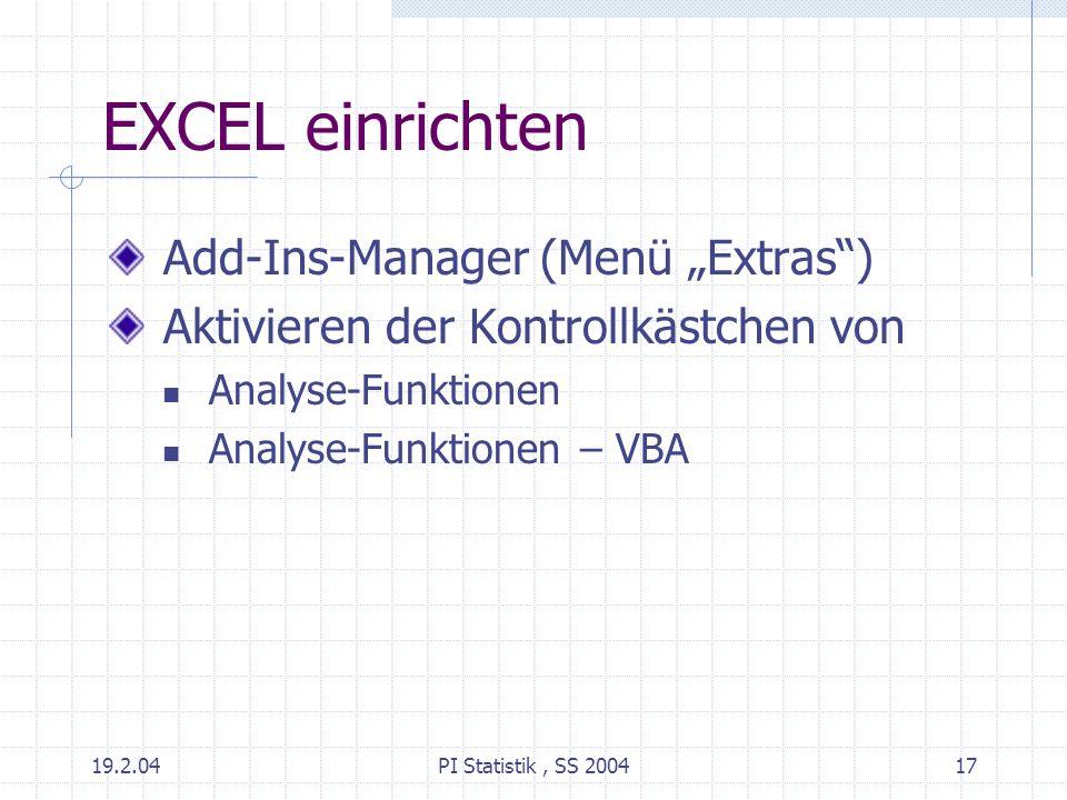 """EXCEL einrichten Add-Ins-Manager (Menü """"Extras )"""