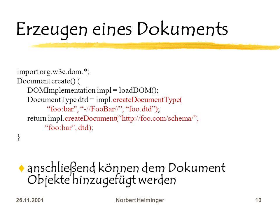 Erzeugen eines Dokuments