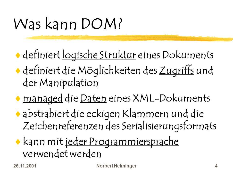Was kann DOM definiert logische Struktur eines Dokuments