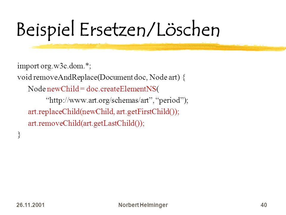 Beispiel Ersetzen/Löschen