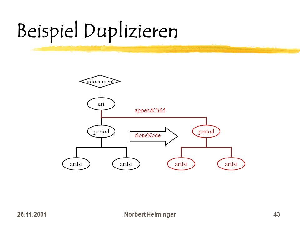 Beispiel Duplizieren #document art appendChild period artist period