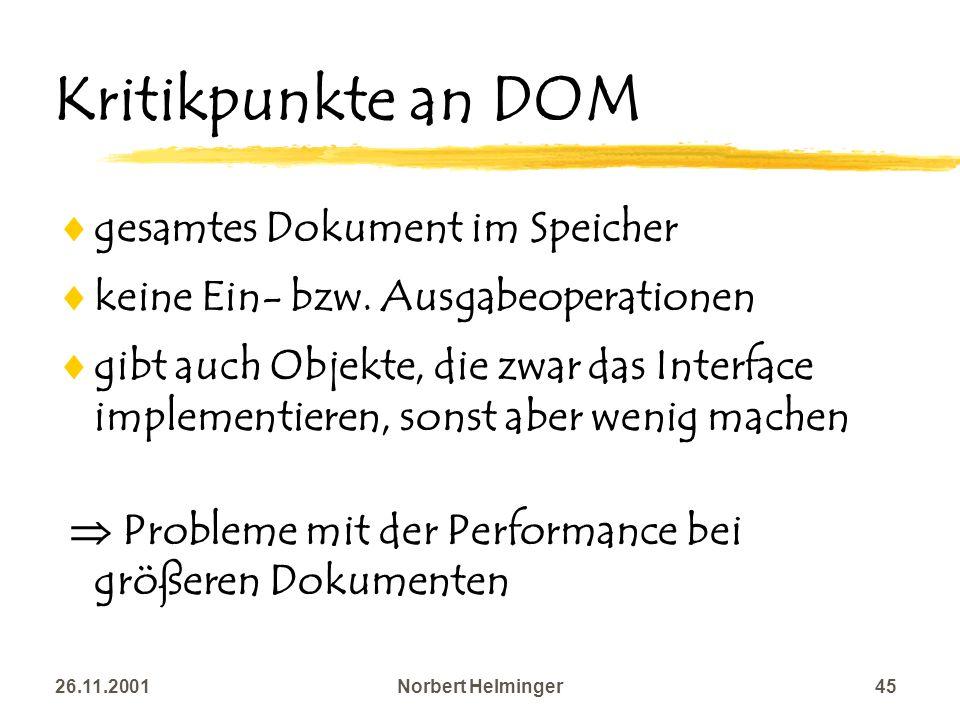 Kritikpunkte an DOM gesamtes Dokument im Speicher
