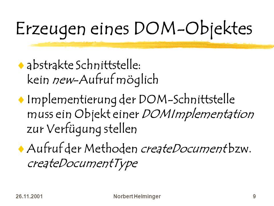 Erzeugen eines DOM-Objektes