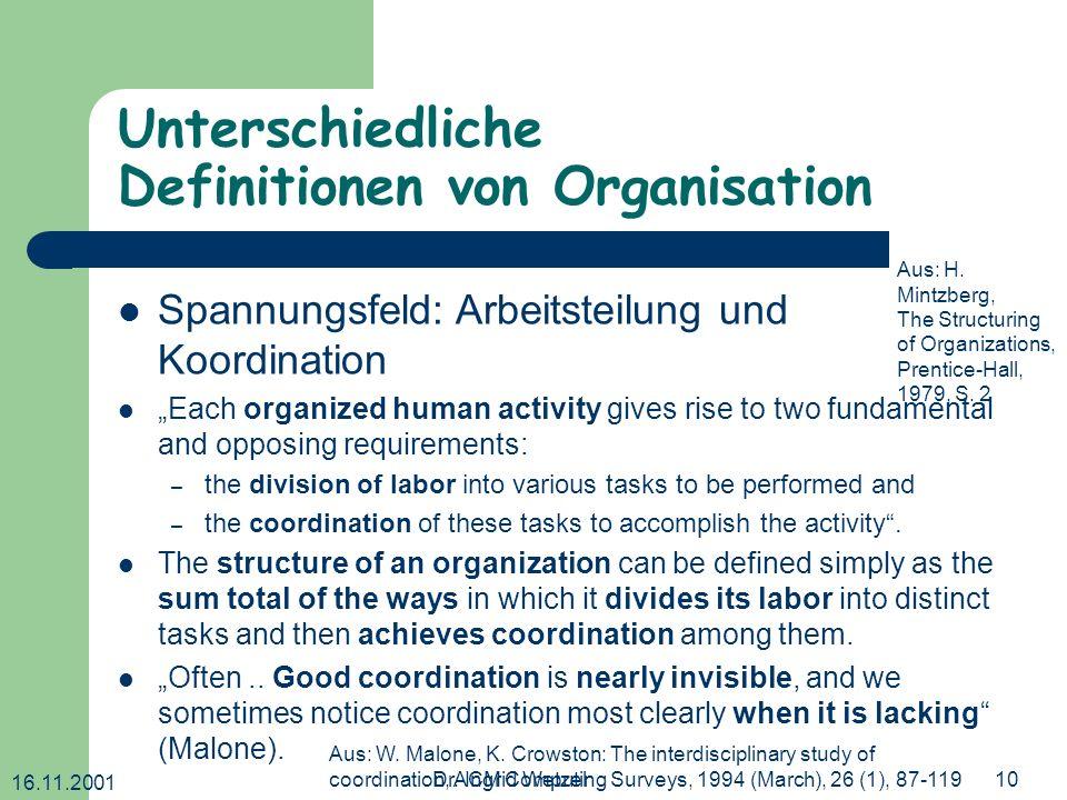 Unterschiedliche Definitionen von Organisation