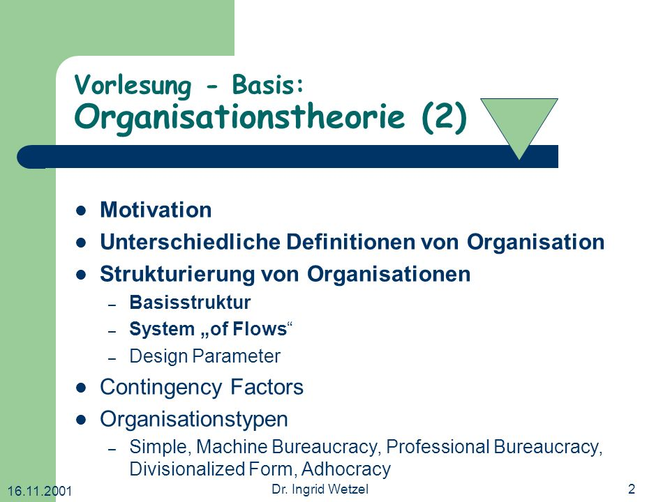 Vorlesung - Basis: Organisationstheorie (2)