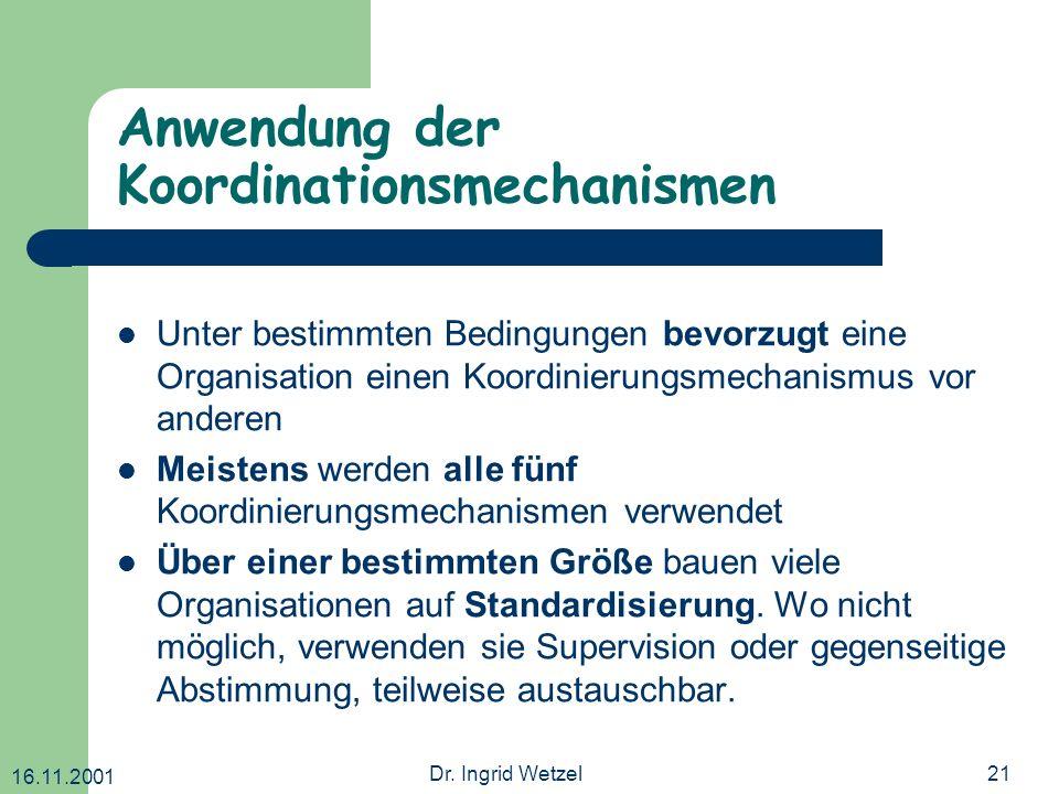 Anwendung der Koordinationsmechanismen
