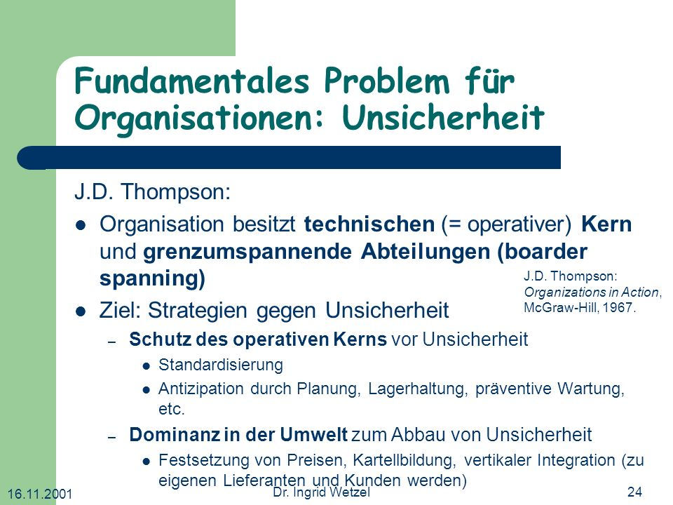 Fundamentales Problem für Organisationen: Unsicherheit
