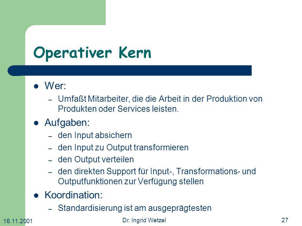 Operativer Kern Wer: Aufgaben: Koordination: