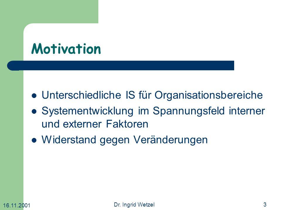Motivation Unterschiedliche IS für Organisationsbereiche