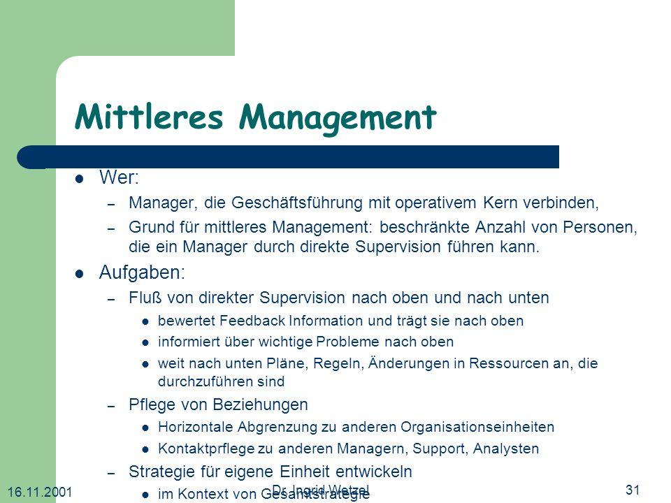 Mittleres Management Wer: Aufgaben: Koordination: