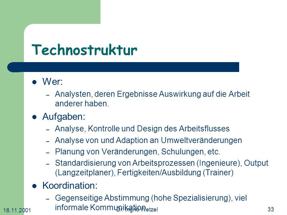 Technostruktur Wer: Aufgaben: Koordination:
