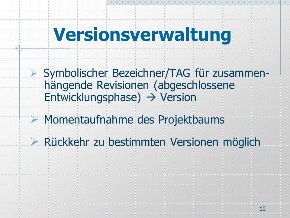 Versionsverwaltung Momentaufnahme des Projektbaums