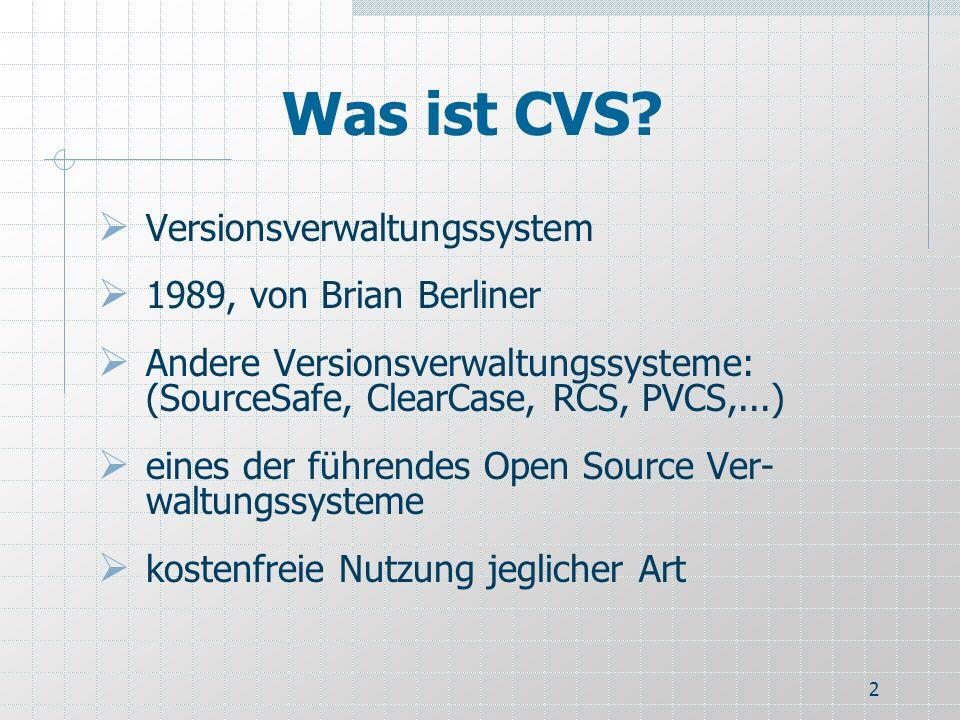 Was ist CVS Versionsverwaltungssystem 1989, von Brian Berliner