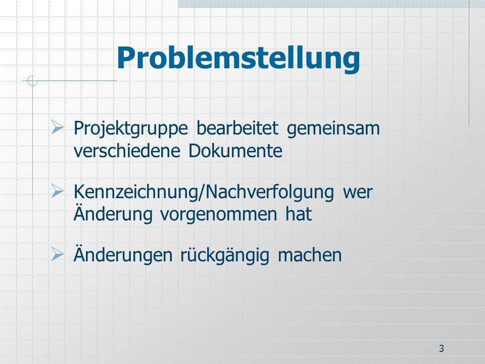 Problemstellung Projektgruppe bearbeitet gemeinsam verschiedene Dokumente. Kennzeichnung/Nachverfolgung wer Änderung vorgenommen hat.