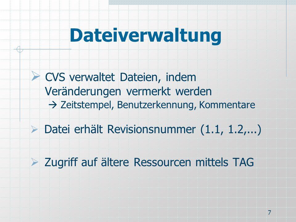 Dateiverwaltung CVS verwaltet Dateien, indem Veränderungen vermerkt werden  Zeitstempel, Benutzerkennung, Kommentare.