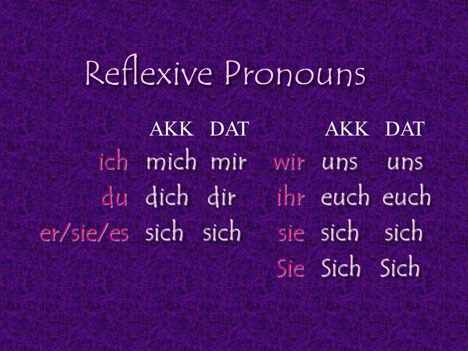 Reflexive Pronouns ich du er/sie/es mich mir dich dir sich sich wir