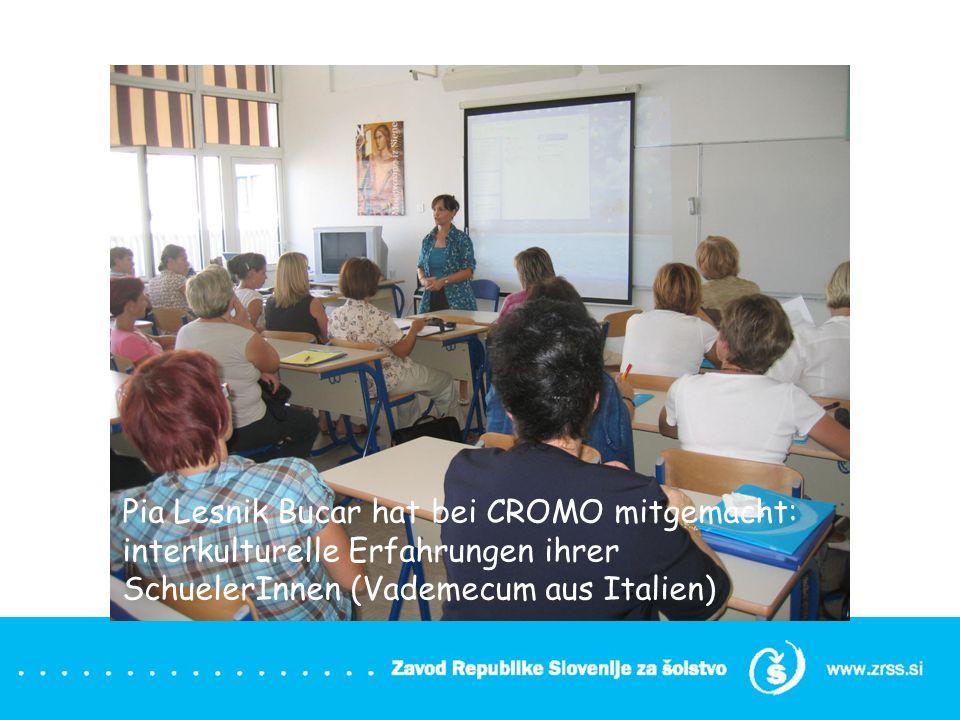 Pia Lesnik Bucar hat bei CROMO mitgemacht: interkulturelle Erfahrungen ihrer SchuelerInnen (Vademecum aus Italien)